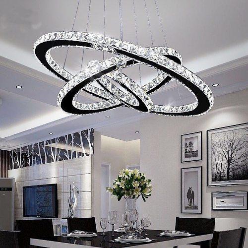 Crystal Ceiling Chandelier Lighting 3 Rings Led Crystal Chandelier Pending Lighting Lamp Lustre Pendant Modern Ceiling Lamp