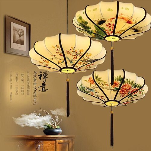 New Led Retro Painting chandelier Chinese style restaurant hot pot shop tea house tea room study antique hand-painted lantern
