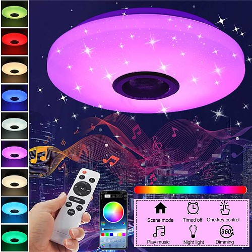 60W RGB Dimmable Music Ceiling lamp Remote&APP control Ceiling Lights AC180-265V for home bluetooth speaker lightingFixture
