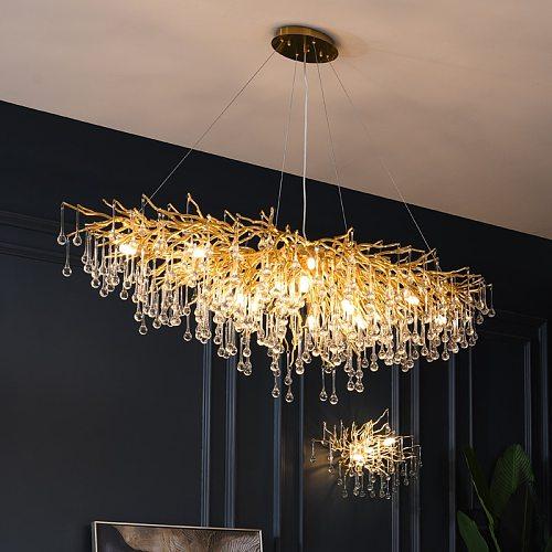Modern  Luxury Crystal Chandelier Lighting LED Villa Kitchen Hanging Lamp Dining Living Room Hotel Hall Art Indoor Lighting