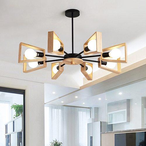 Black White Modern Chandelier Tree Lighting 3/5/6/8 Lights E27 Windmill LED Nordic Wooden Hanging Light for Living Room Bedroom