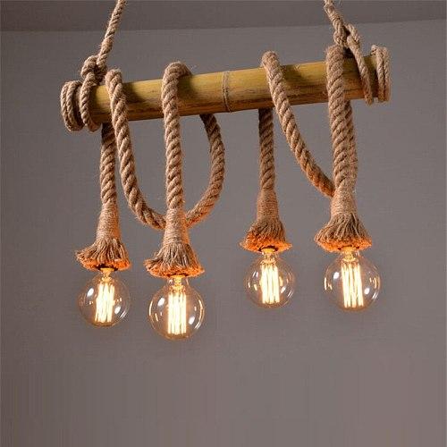Bamboo hemp rope pendant lights creative restaurant decoration lamps retro bar table garden bamboo hunging light