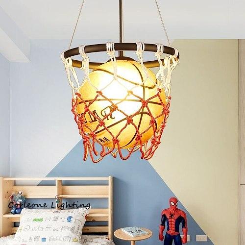 Basketball Pendant Lights Industrial Loft Hanging Lamp for Kids Room Pendant Lamp Children Holiday Gift Home Deco Light Fixtures