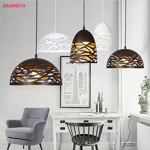 Vintage Pendant Lights Hollow Black Iron Pendant Lamp Kitchen Fixtures Dining Room Table Hanglamp avize luminaria Home Lighting
