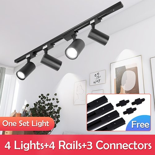 Whole Set Led Track Light 220V Aluminum Track Lights Rail 20W 30W 40W Spotlights Led Track Lamps for Store Home Track Lighting