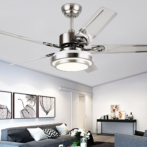 42/48/52Inch Modern Style  Stainless Steel Ceiling Fan Light Creative Nodric Dining room Restaurant Fan light 110V 220V