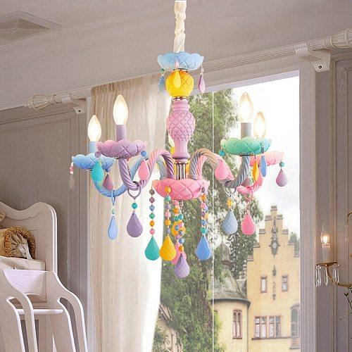 Crystal Chandelier European Children Macaron LED Chandelier Rainbow Candle Chandelier for Bedroom Colorful Indoor Lighting