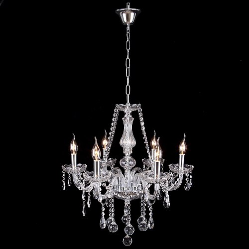 Yonntech 6 Arm Clear K9 Crystal Chandelier Ceiling Light Droplets Pendant Lamp Living room