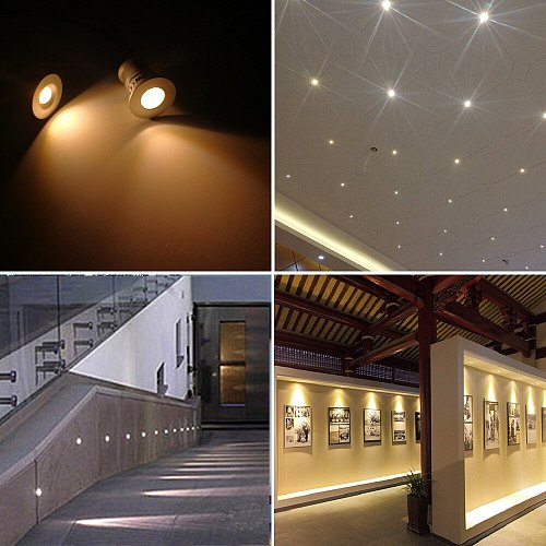 12V Mini Indoor LED Spot Light Downlight Dimmable Recessed Ceiling Stair Light With Remote Controller 1W Showcase Cabinet Lights