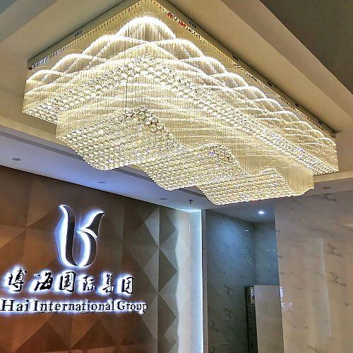 Wave Design Large Ceiling Chandelier Lighting Crystal Lamp AC110V 220v LED Crystal Foyer Lights,Luxury Hotel Chandelier