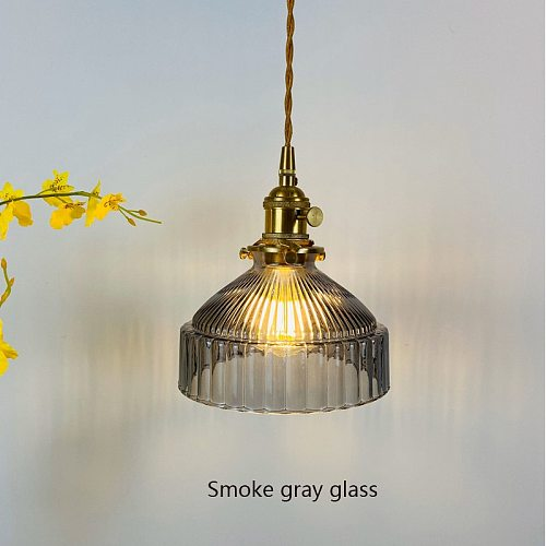 Japanese Indoor Pendant Lights Glass Luminaria Decoration Modern Brass Led Hanging Lamp for Bedroom Kitchen E27 Bulb Amber Gray