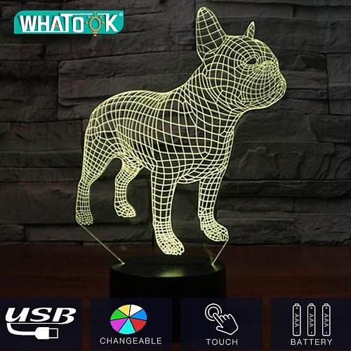 French Bulldog 3D LED Night Lamp Touch 7 Color Change Beside Lights USB Hologram Home Decor Holiday Gifts Mood Christmas Light