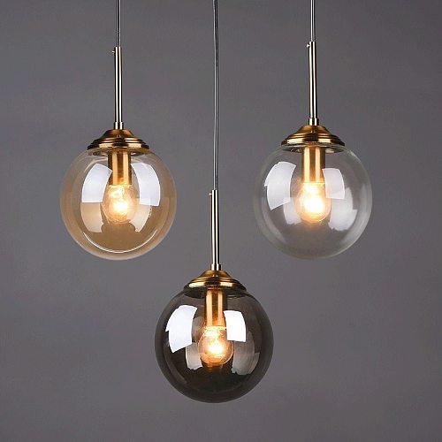 Modern Glass Ball Pendant Lighting Fixture Golden Ring Kitchen Dining Room Bedside Hanging Lamps Luminaire Suspension Lights