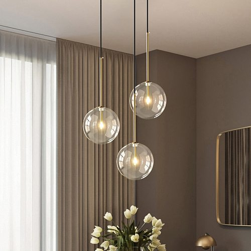 Nordic Clear Glass Pendant Lights Modern cafe bar Glass Ball Pendant Lamp Dining Room Kitchen fixtures Hanging Lamp Suspension