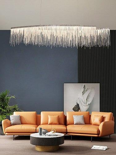 New Creative Rectangle Chandelier Indoor Lighting Modern Tassel LED Wires Hanging Lamp for Living room Dining room Restaurant Lo
