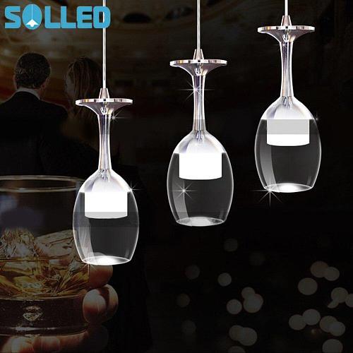 1PCS 85-265V LED Modern Wine Glass Pendant Lighs for Restaurant Acrylic Pendant Lamp Bar Dining RoomDecoration Light
