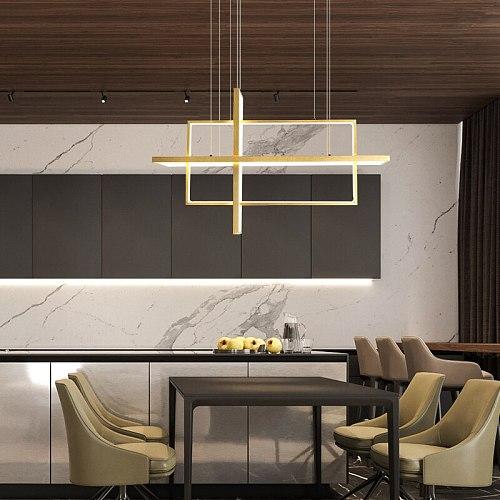 LED Pendant Lamp For Living Room Dining Room Bedroom Villa Postmodern Loft Black Rectangle Chandelier Hanging Light