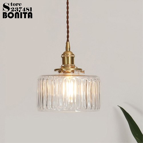 Nordic vintage brass glass droplight Carved glass water wave Pattern hanging lights Copper pendant lighting glass lampshades