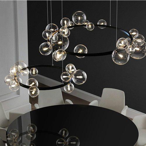 Nordic Minimalism Living Room G9 Led Chandelier Glass Globe Led Pendant Chandelier Lighting Round Metal Hanging Light Fixtures