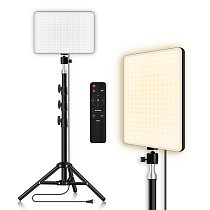 LED Video Light With Professional Tripod Stand Remote Control Dimmable Panel Lighting Photo Studio Live Photography Fill-in Lamp