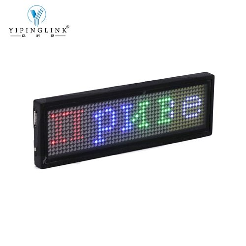 Bluetooth programmable RGB LED name badge rechargeable mini scrolling LED moving sign DIY editable 1248 dots LED name tag