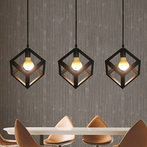 iron Metal Cage Pendant Light Industrial Cube Pendant Lights Accessory Loft Ceiling industrial lamp hanglamp for Home Bar Cafe