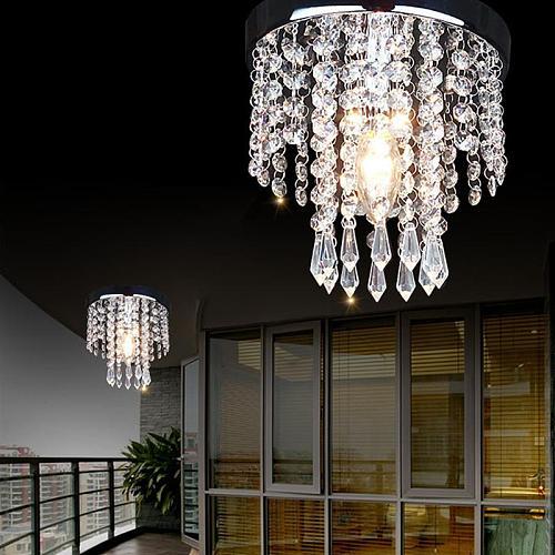 Modern Crystal Pendant Light 85-265V E14 5W Light Source Bedroom Living Room Hanging Indoor Lighting (20CM Diameter)