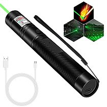 Tactical Laser Pointer High Power USB Rechargeable Pen Laser Flashlight Green/Red/Purple 303 Sight Pointer Adjustable Focus
