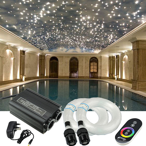 32W RGB LED Fiber Optic Engine Driver Double Heads Light Source  RF Touch Remote Controller for all Fiber Optic Cable Lighting