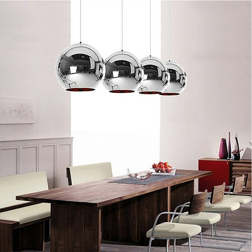 Nordic Copper Glass Mirror Ball Hanging Lamp Modern Minimalist Personality Glass Chandelier Bedroom Kitchen Hanging Lights JQ