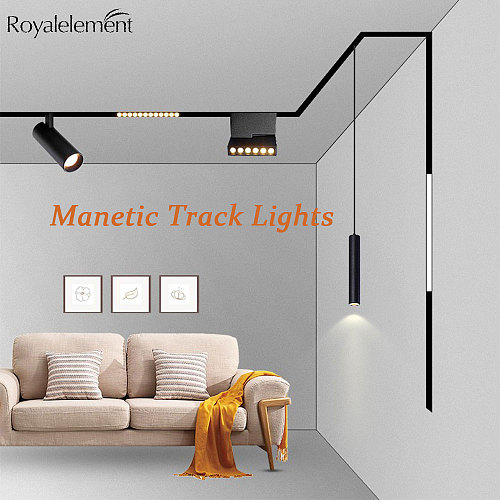 Magnetic LED Track Light Fixture 6W 12W 20W 48V DC Ceiling Rail Strip Lighting System For Indoor Gallery Living Room Magnet Lamp