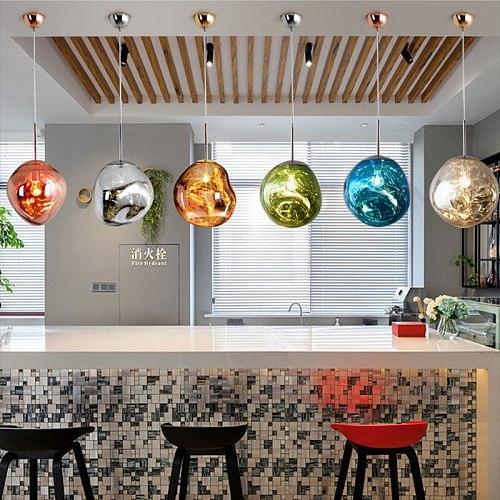 Nordic PVC LED Pendant Lights Melt Lava Color Pendant Lamp Suspension Luminaire Lighting Kitchen Hanging Lamps Modern Bar Decor