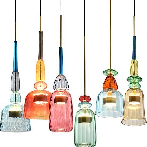 Nordic Macaron LED Color Candy Chandelier lights Bar Restaurant Cafe Bedroom Single Head Glass Lamps