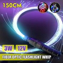 3W LED Fiber Optic Whip Strip Light 360° RGB Multi-Mode Flashlight Show Music Dance Festival 150CM Battery Operated Lighting