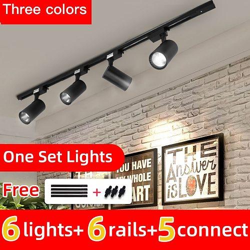 Whole Set Led Track Light 12/20/30/40W COB Track Lights Aluminum Rails Track lighting Fixture For Clothing Shop Living Room Home