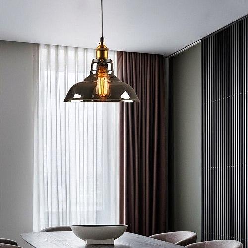 Vintage Pendant Lights Modern Glass Pendant Lamp Loft Retro Hanglamp Industrial Lamp Dinning Room Bedroom Kitchen E27 Smoky Grey