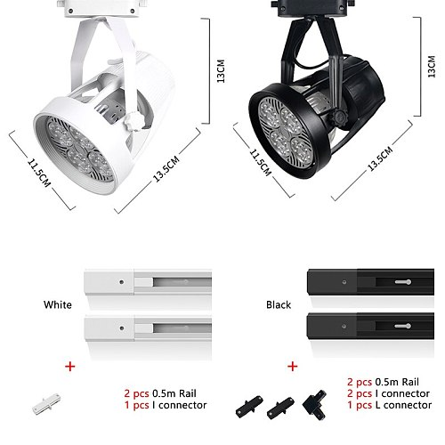 Industrial 35/40W LED Track Light Adjustable Fixture Phase Ceiling Spot Rail Lighting Clothes Store Shop Spotlight Lamp  ZGD0005