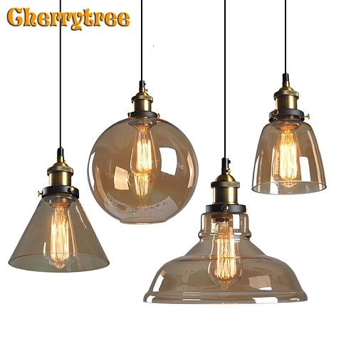 Glass Pendant lights Amber Vintage Modern Industrial hanging lamp E27  bulbs Kitchen Dining living room pendant light fixture