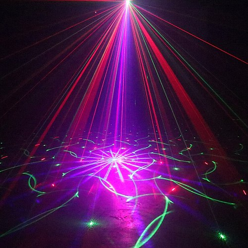 RGB Laser Projector Disco Party Sound Light with Flash Led for DJ Bar Club Karaoke 84 Patterns Stage Lighting Sound-active