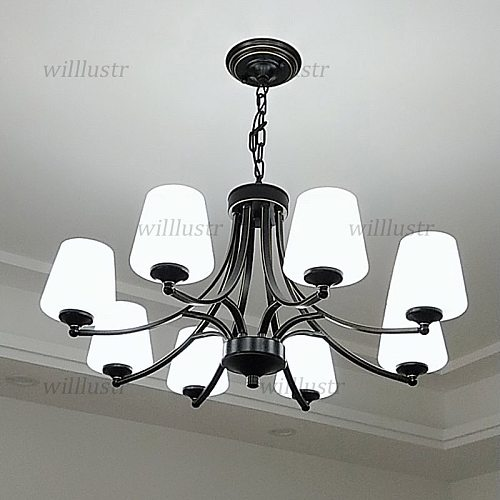 American Style Glass Pendant Lamp Black Gold Iron Suspension Light Hotel Villa Cafe Sitting Dinning Bed Room Hanging Chandelier
