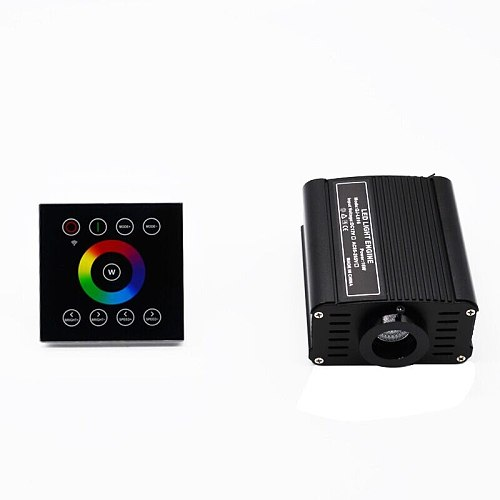 16W RGBW LED Fiber Optic Light Engine Driver+2.4G Wireless Wall Switch Touch Controller PMMA star ceiling DIY Black glass screen