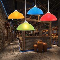 Modern Kindergarten Hairdresser Clothing Shop Colored Plastic Lampshade Corridor Chandelier Bar Supermarket Chandelier