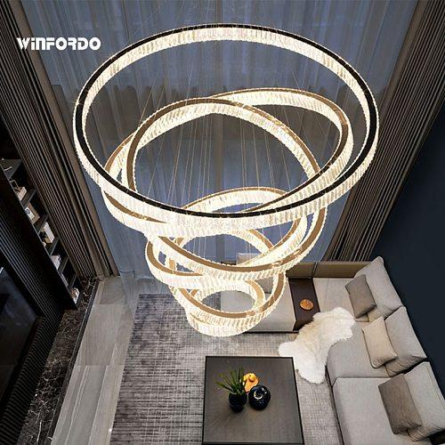 2021 Modern Led Crystal Chandelier Lighting Pendant Lamp Stair Light For Home Decoration Luxury Foyer Lighting Fixtures