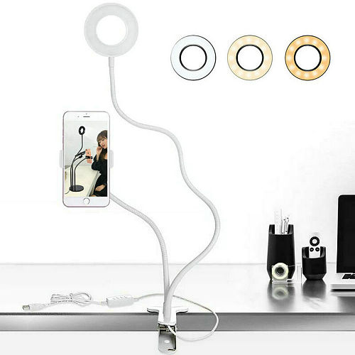 Long Arm Selfie Universal Holder 24 LEDs Led Ring Fill Light USB powered Camera Cell Phone Clip Stand Live stream Vedio-White