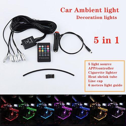 5pcs RGB LED Car Decorative Light Interior Ambient Light Fiber Optic Strips Light by App Control DIY Music Car atmosphere lights