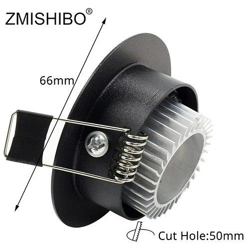 ZMISHIBO LED Downlights 50-55mm Cut Hole 3W 110V-240V White Silver Black 3000K 6000K Living Room Recessed Ceiling Spot Lamp CE