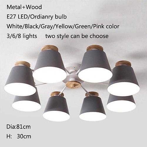 Nordic loft E27 LED 220V log two styles colorful chandelier for kitchen living room bedroom restaurant warm wrought craft lamp