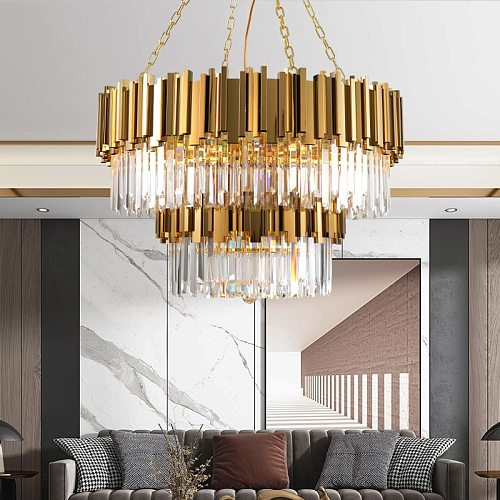 Living Room Luxury Gold Metal Led Pendant Lights Round Luminarias Adjustable Hanging Lamp Led Indoor Lighting Lamparas Fixture
