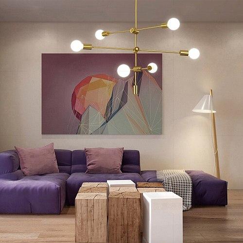 CETANT Nordic Wrought Iron Chandelier Postmodern Geometric Line Pendant Lamp Bedroom Dining living room Light home decoration