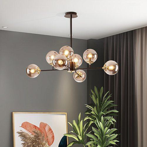 Chandelier For Living Room Dining Kitchen Nordic LED White Glass Lamp Modern Villa Hall Decor Ceiling Hanging Light Home Fixture